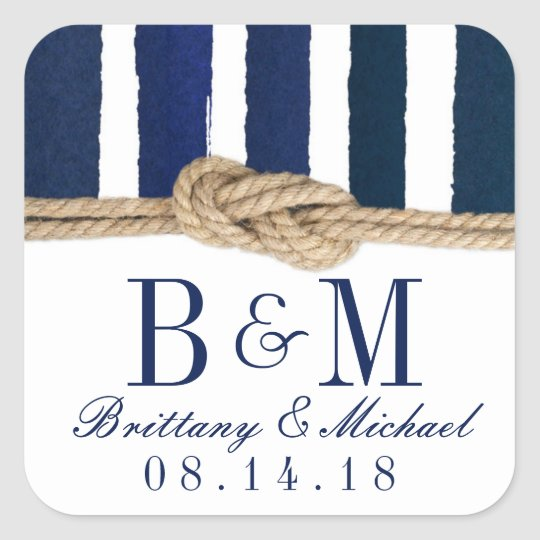 Nautical Knot Burlap Navy Stripes Wedding Stickers
