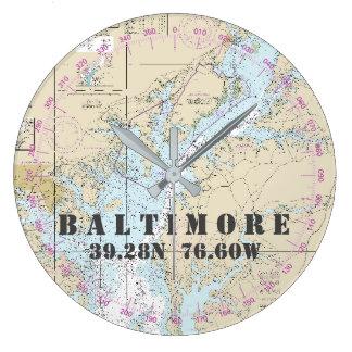 Nautical Latitude Longitude Baltimore MD  24-Hour Wallclocks
