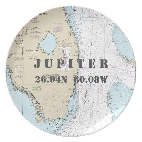 Nautical Latitude Longitude Jupiter, FL Boat Plate