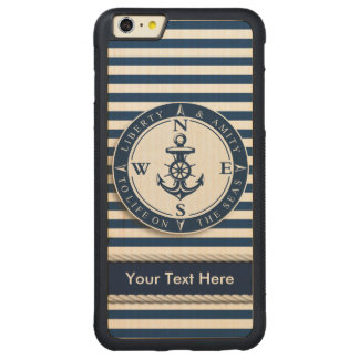 """Nautical - """"Liberty, Amity, Life, Seas"""" All Option Carved® Maple iPhone 6 Plus Bumper Case"""