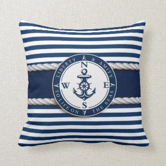 """Nautical - """"Liberty, Amity, Life, Seas"""" Throw Pillow"""