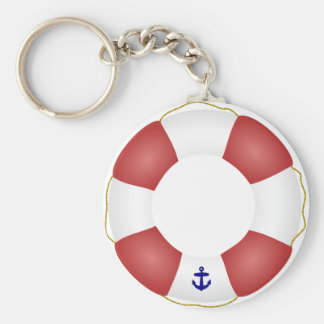 Nautical Life preserver Basic Round Button Key Ring