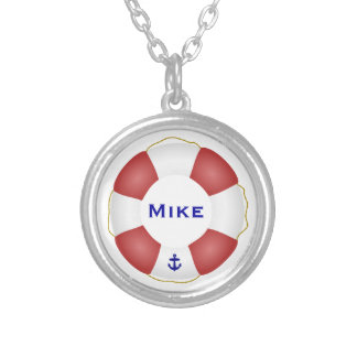 Nautical Life preserver Silver Plated Necklace
