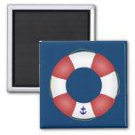 Nautical Life preserver Square Magnet