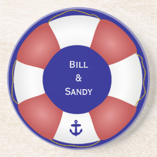 Nautical Life preserver with anchor Coaster