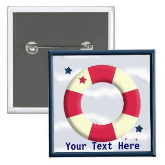 Nautical Lifesaver Design Button