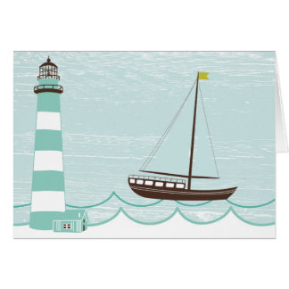 Nautical Lighthouse and Sail Boat All Occasion Car Card