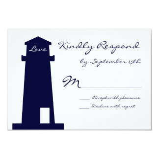 Nautical Lighthouse Beach Wedding RSVP Cards