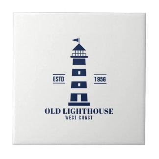 Nautical Lighthouse Label on White Ceramic Tile