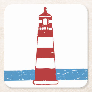 Nautical Lighthouse Red And White Stripes, Wedding Square Paper Coaster