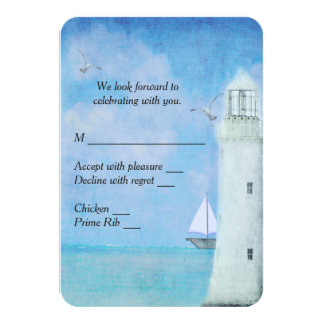 Nautical Lighthouse RSVP 3.5x5 Paper Invitation Card