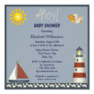 Nautical Lighthouse & Sailboat Baby Shower Invites