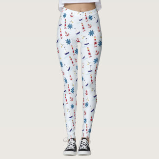Nautical Lighthouse Sailboat Marine Leggings Pants