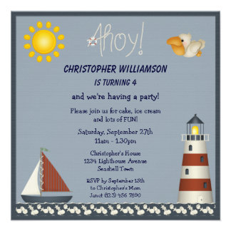 Nautical Lighthouse Sailboat Party Invites