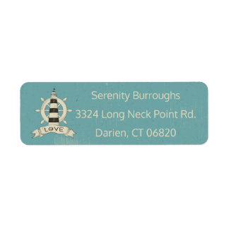Nautical Lighthouse & Ship Anchor Blue Teal Return Address Label