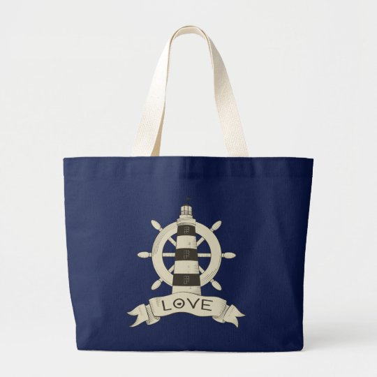 Nautical Lighthouse & Ship Wheel Beach Sailor Love