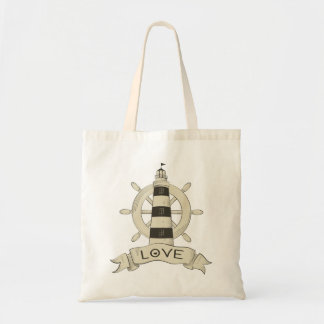 Nautical Lighthouse & Ship Wheel Beach Sailor Love Tote Bag