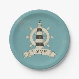 Nautical Lighthouse & Ship Wheel Tan Wedding Love Paper Plate