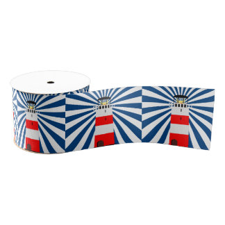 Nautical Lighthouse with Beams Grosgrain Ribbon