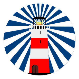 Nautical Lighthouse with Beams 13 Cm X 13 Cm Square Invitation Card