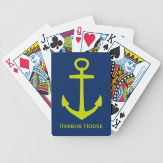 Nautical Lime Green Anchor on Navy Personalized Bicycle Playing Cards