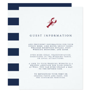 Nautical Lobster Wedding Guest Details Card