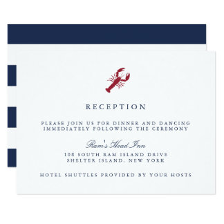Nautical Lobster Wedding Reception Card