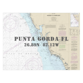 Nautical Longitude Latitude Punta Gorda Florida Tablecloth