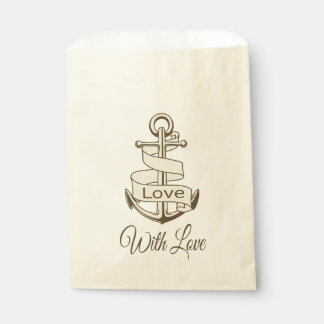Nautical Love  Brown Ship Anchor Wedding Party Favour Bags