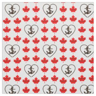 Nautical love Canada anchor heart fabric