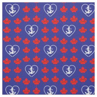 Nautical love Canada anchor heart fabric blue