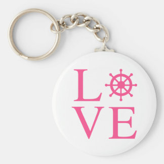 Nautical Love Pink Fuchsia Ship Wheel Basic Round Button Key Ring