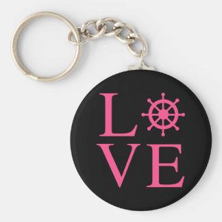 Nautical Love Pink Fuchsia Ship Wheel Black Basic Round Button Key Ring
