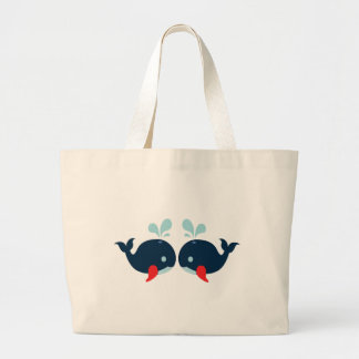 Nautical Love Whales Fish Love - Navy Sailor Beach Large Tote Bag