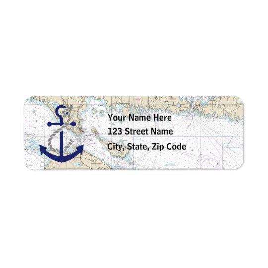Nautical Map Decor Return Address Label