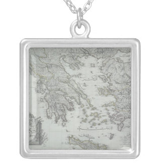 Nautical Map Silver Plated Necklace