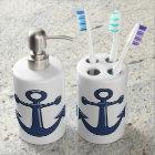 Nautical Marine Blue Boat Anchors Bathroom Set