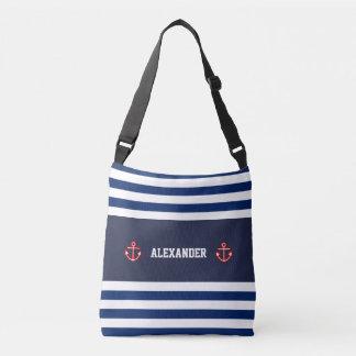 Nautical Marine Navy Blue White Stripes Crossbody Bag