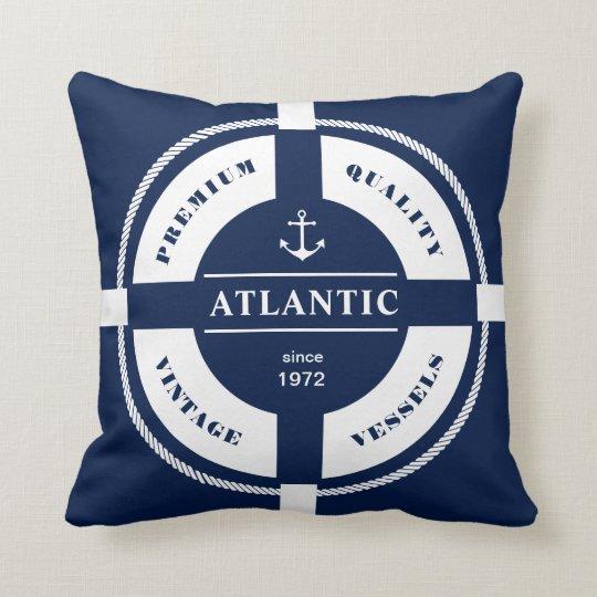 Nautical, maritime, ring buoy, blue, white, pillow