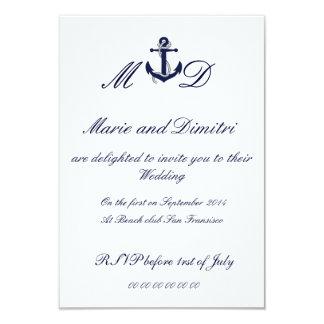 "Nautical Marriage invitation 3.5"" X 5"" Invitation Card"