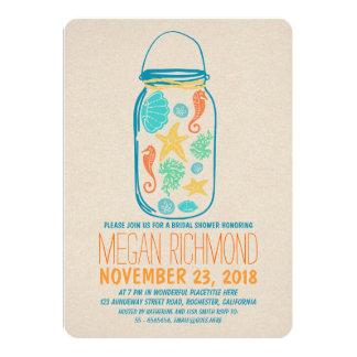 Nautical mason jar beach bridal shower invitation