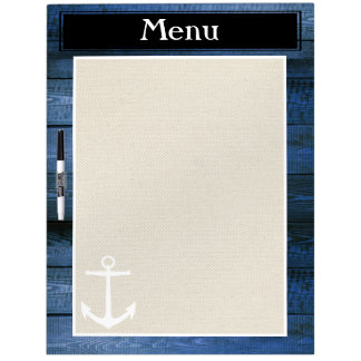 Nautical Menu Dry Erase Board Navy Wood Planks