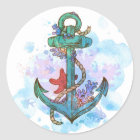 nautical mermaid anchor party bag seals stickers