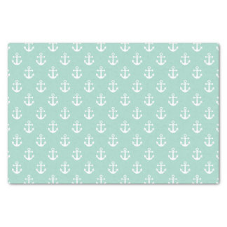 Nautical Mint Green and White Anchor Pattern Tissue Paper