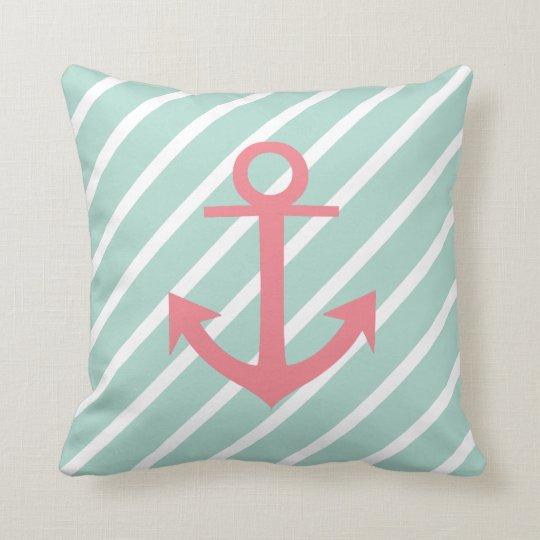 Nautical Mint Green Stripes And Coral Anchor Cushion