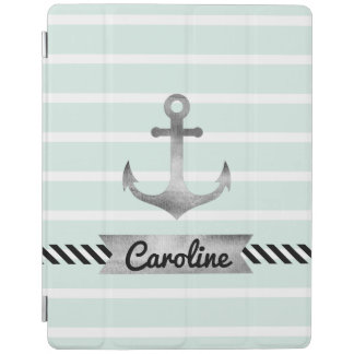 Nautical Mint Green Stripes Watercolor Anchor iPad Cover
