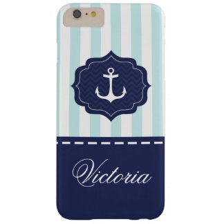 Nautical Mint Navy Blue Anchor Custom Name Barely There iPhone 6 Plus Case