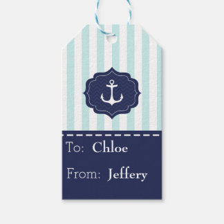 Nautical Mint Navy Blue Anchor Custom Name Gift Tags