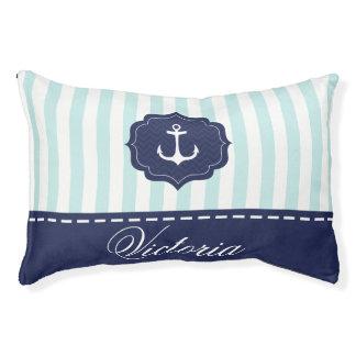 Nautical Mint Navy Blue Anchor Custom Name Pet Bed