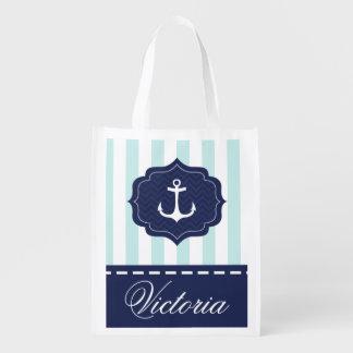 Nautical Mint Navy Blue Anchor Custom Name Reusable Grocery Bag